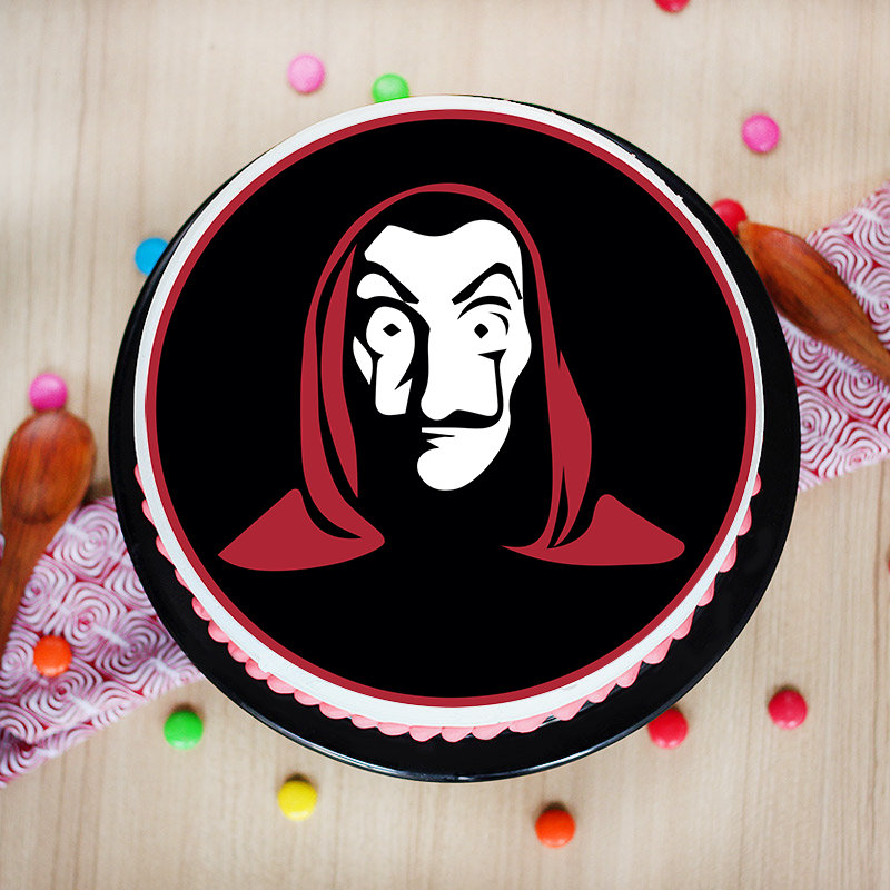 Money Heist Mask Poster Cake