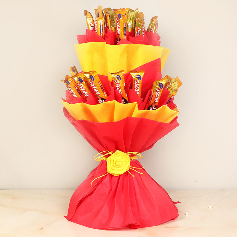 Morning Star Combo - Bouquet of Thirty 5 Star Chocolates in Red and Yellow Paper Packing