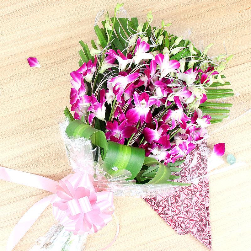 Bunch of 6 Purple Orchids - A gift of Fatherhood Bestowal