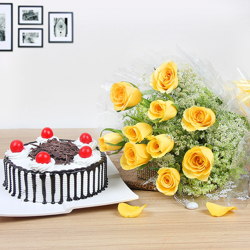 Mothers Day Abundance - Gift Combo of 10 Yellow Roses and Half Kg Black Forest Cake Combo
