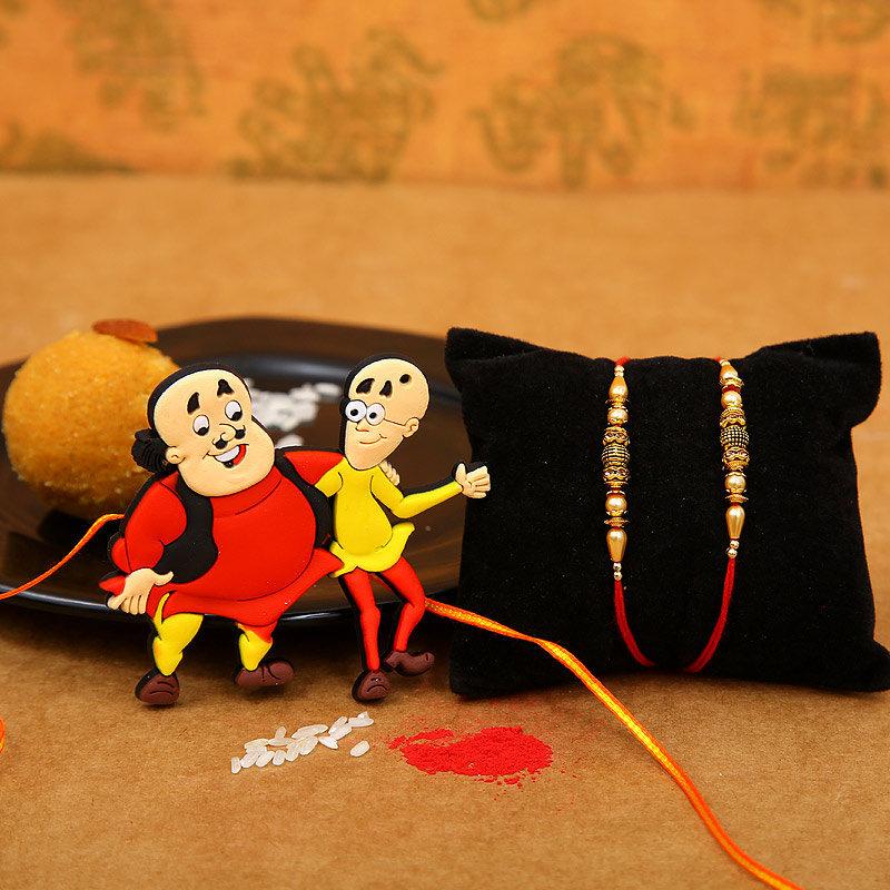 Motu Patlu Rakhi with Two Traditional Rakhis