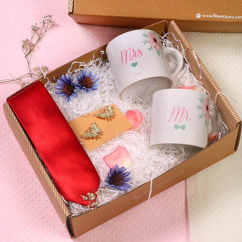 Mr N Mrs Gift Box - Two personalised ceramic mug with Pair of Metallic Earrings One Red Tie and Peek A Boo Box