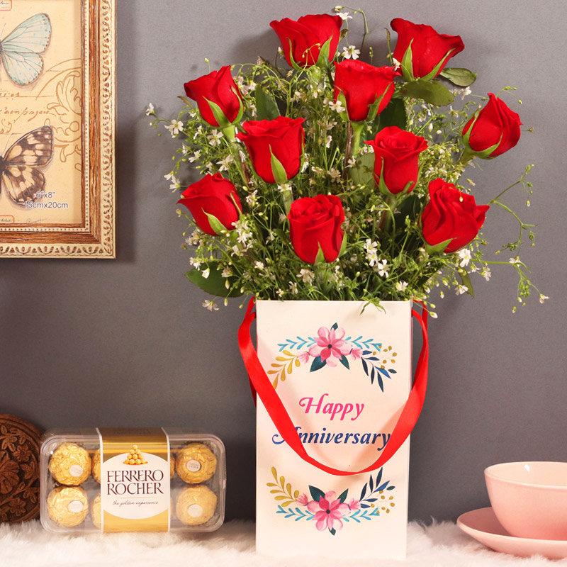 Anniversary Roses Box With Chocolates