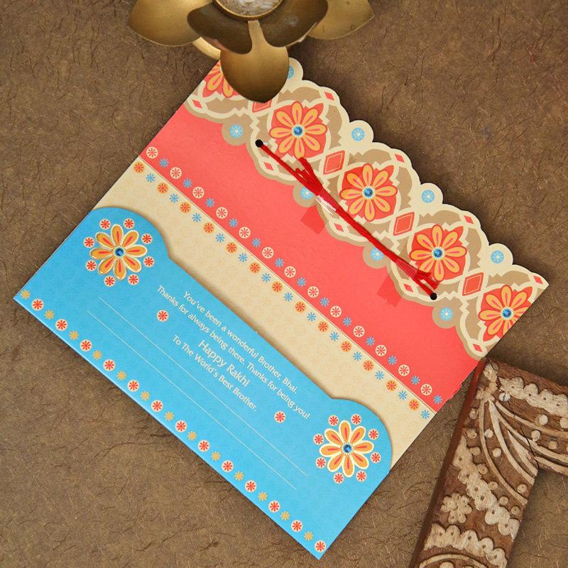 Multicolour Beads Rakhi Card