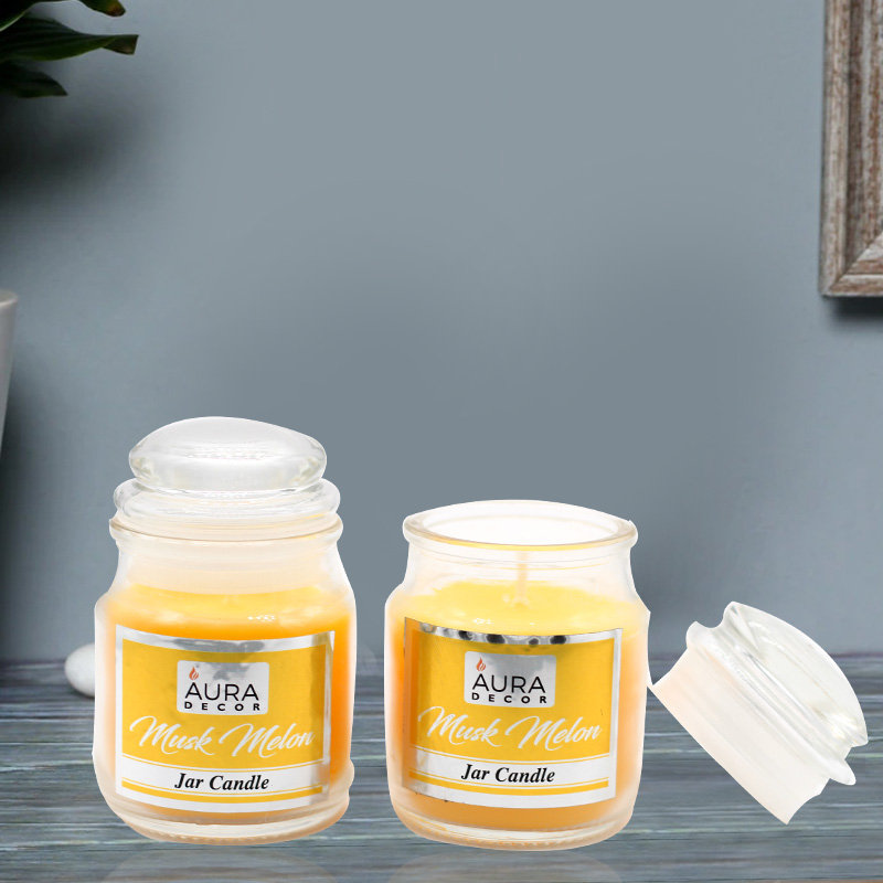 2 Jar Candles with Musk Melon Fragrance