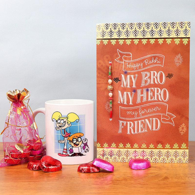 Rakhi and Card with Handmade Chocolates and Printed Mug