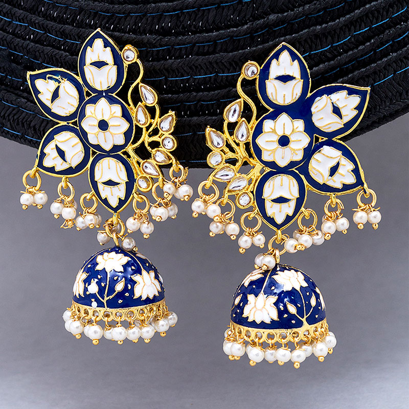Navy Blue Floral Jhumkas