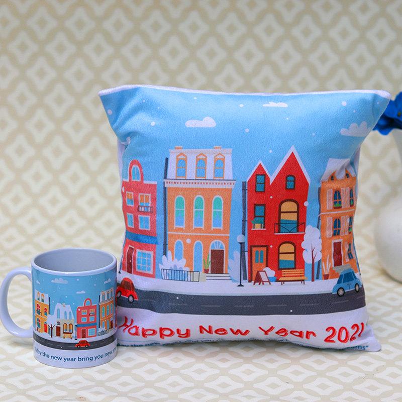Mug-pillow combo gift for New year