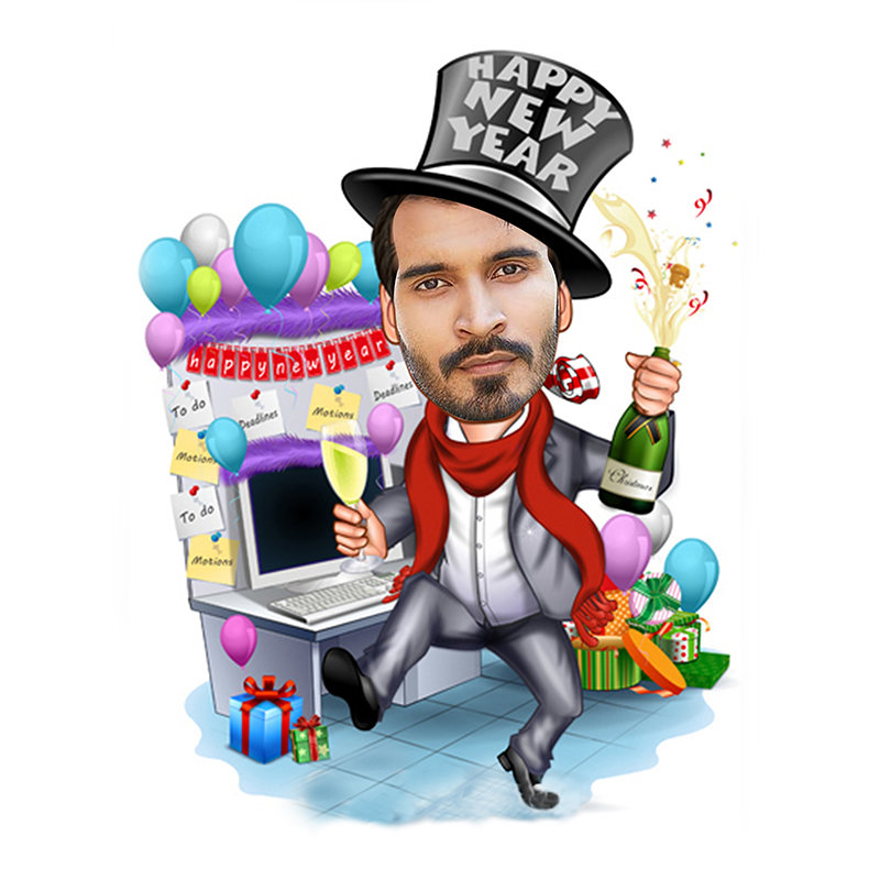 New Year Party Caricature