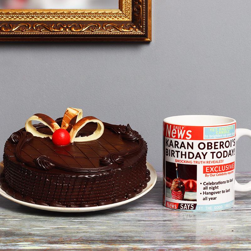 One Personalised Ceramic Mugwith 500gm Chocolate Cake