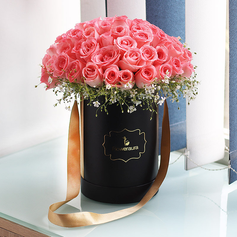 Bunch of Pink Roses in a Flower Box