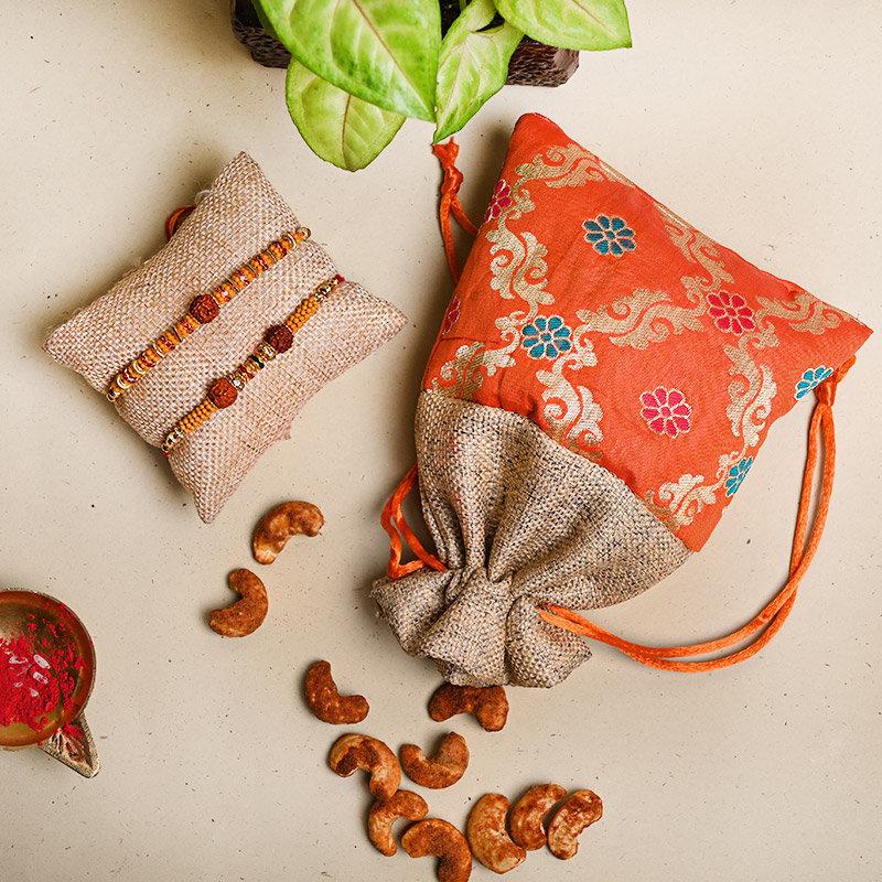 Set of 2 Designer Rakhi - Nuts N Rudraksha Rakhi Pack
