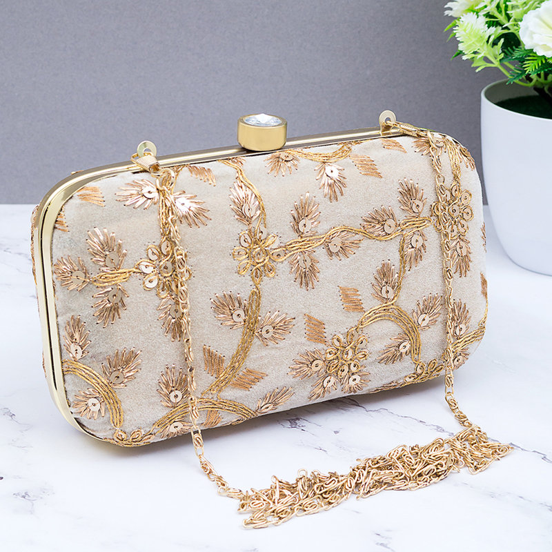Off White Embroidered Clutch