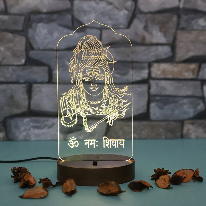 Om Namah Shivay LED Lamp - LED Acrylic Multicolour Lamp with Top Glowing Part and Wooden Box