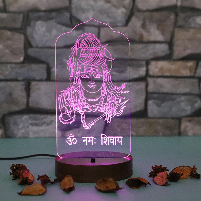 Om Namah Shivay Multicolour LED Lamp - Ideal Birthday Gift for Mother