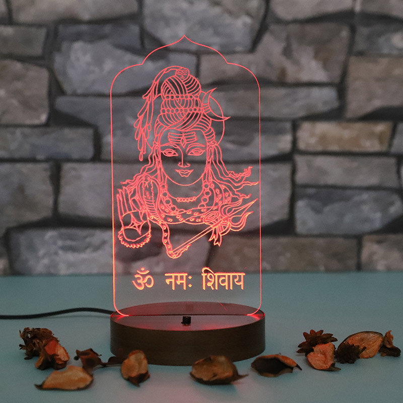 Multicolour Night LED Lamp of Lord Shiva - Ideal Birthday Gift for Mothers