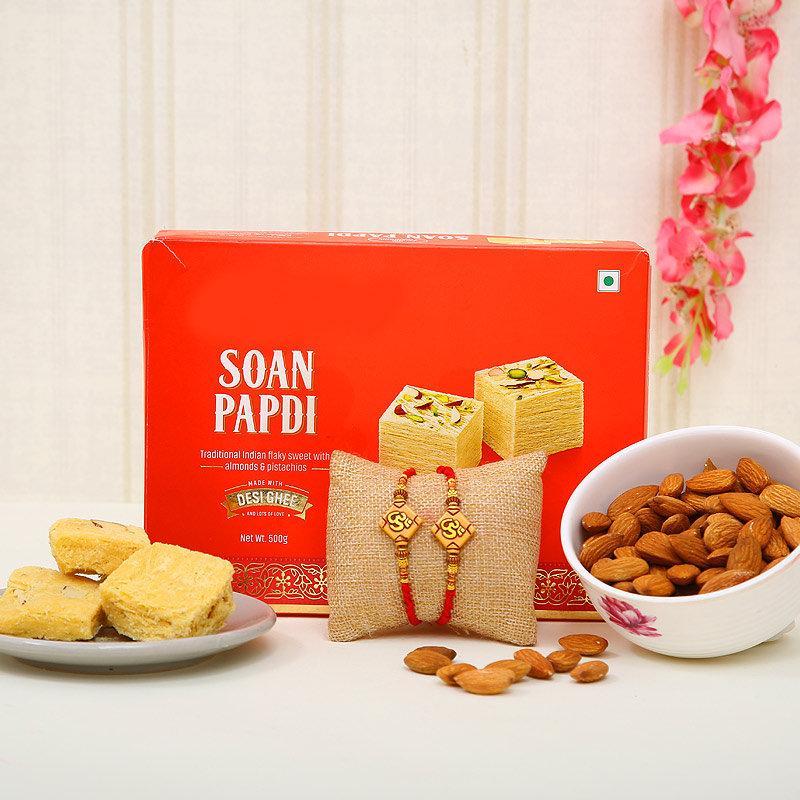 Om sweet almond rakhi combo