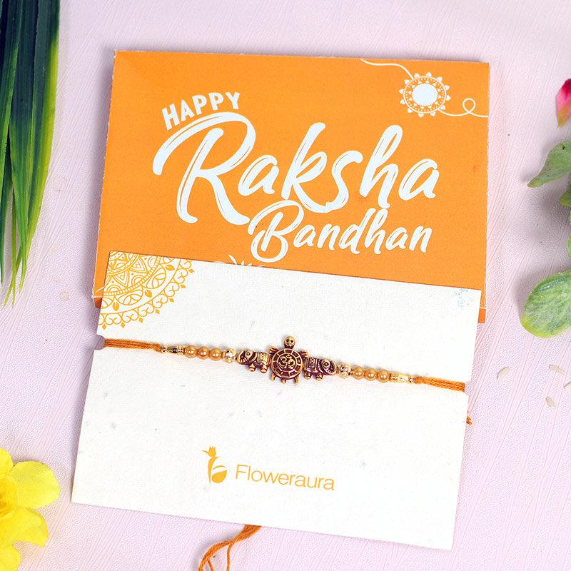 Om Turtle Beads Rakhi in Packaging