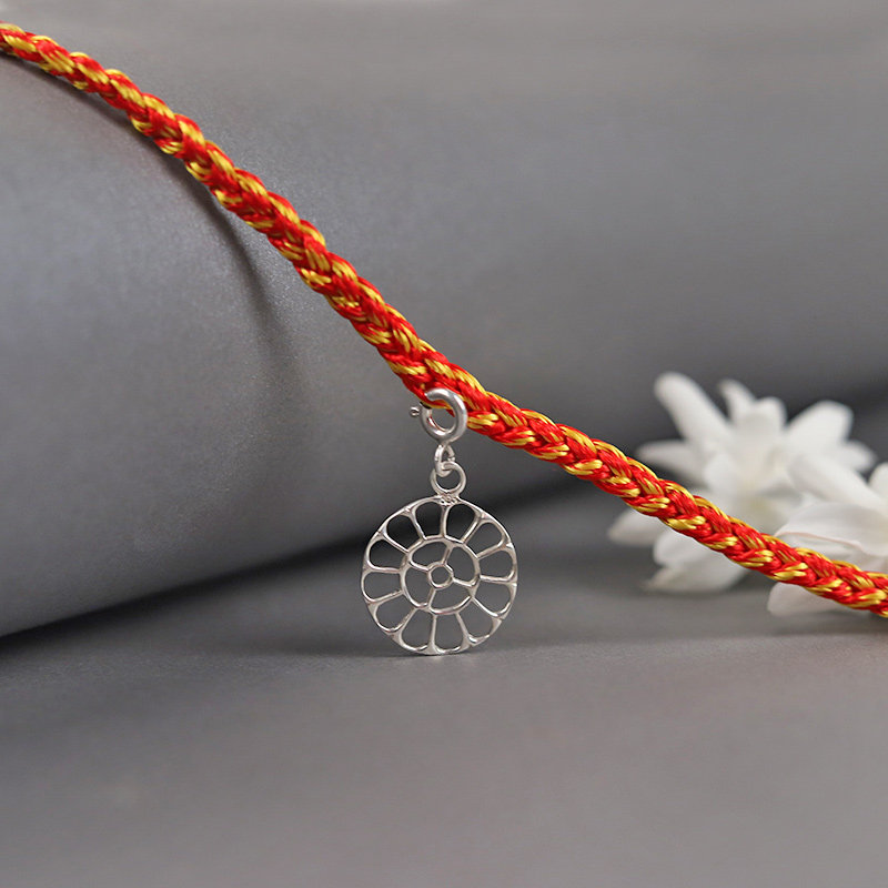 One 925 Sterling Silver Round Rakhi - Silver Designer Rakhi Online