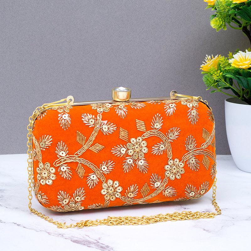 Orange Embellished Clutch