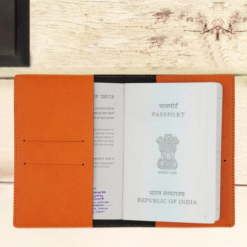 Inner Side of Orange Personalised Passport Cover