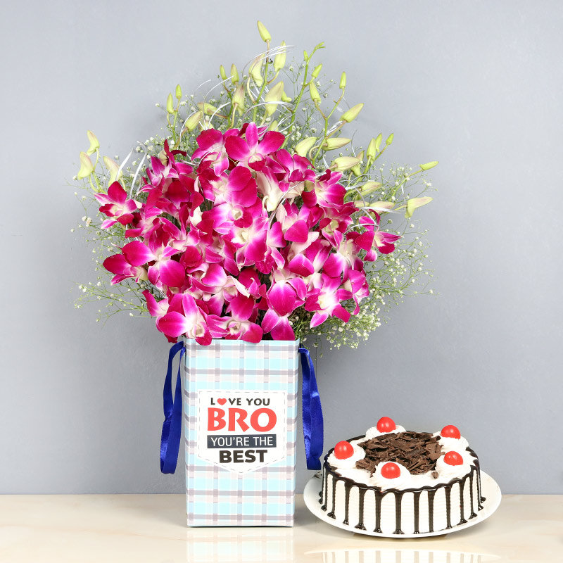 Orchid Forest Cake Combo - 6 Purple Orchids in Floral Box for Brother 0.5 Kg Blackforest Cake