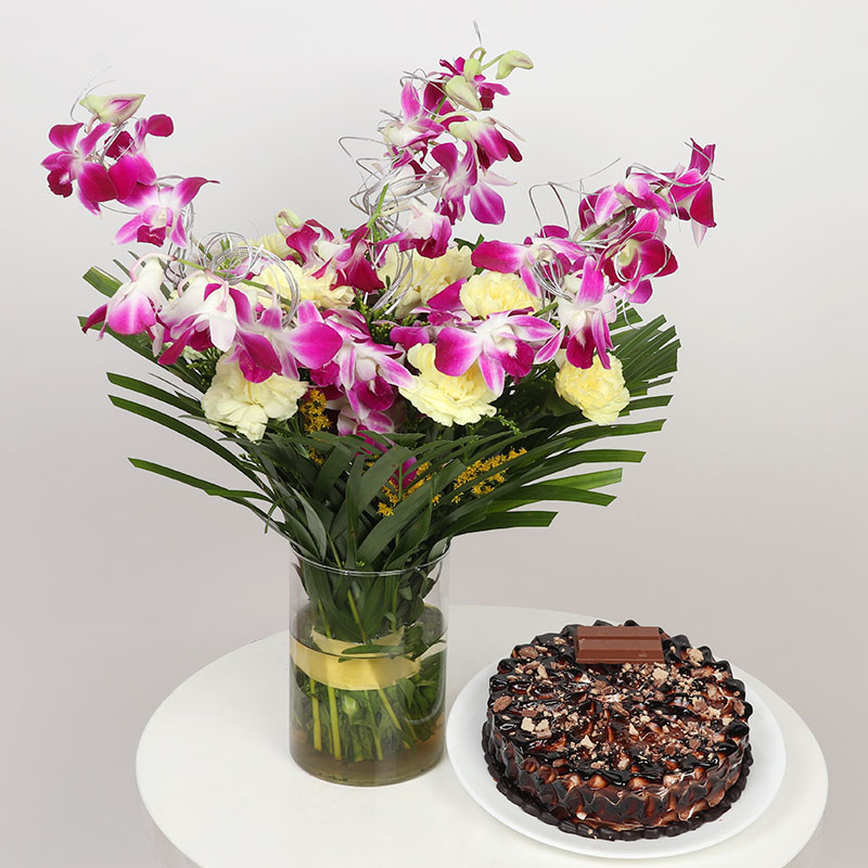 Orchids Carnations Glass Vase With Cake