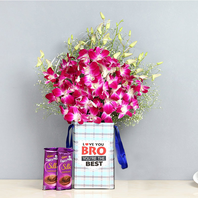 Orchids and Chocolates Combo for Brother
