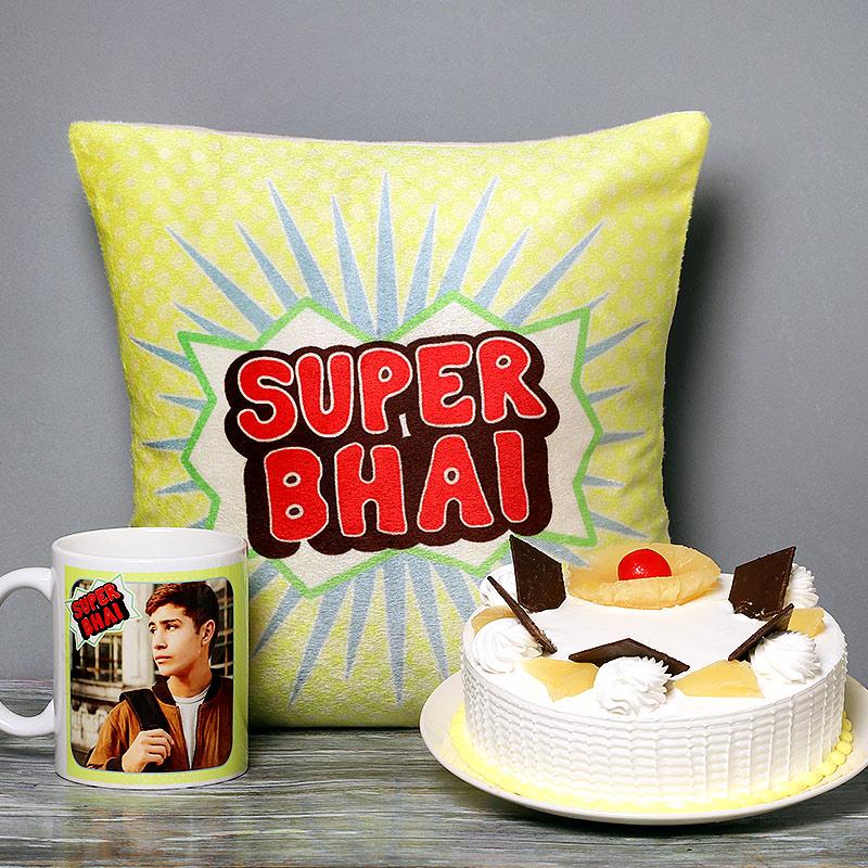 One Personalised Ceramic Mugwith 500gm Pineapple Cake and Printed Cushion