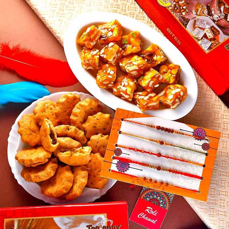 Pack Of 4 Rudrakha Rakhi Combo