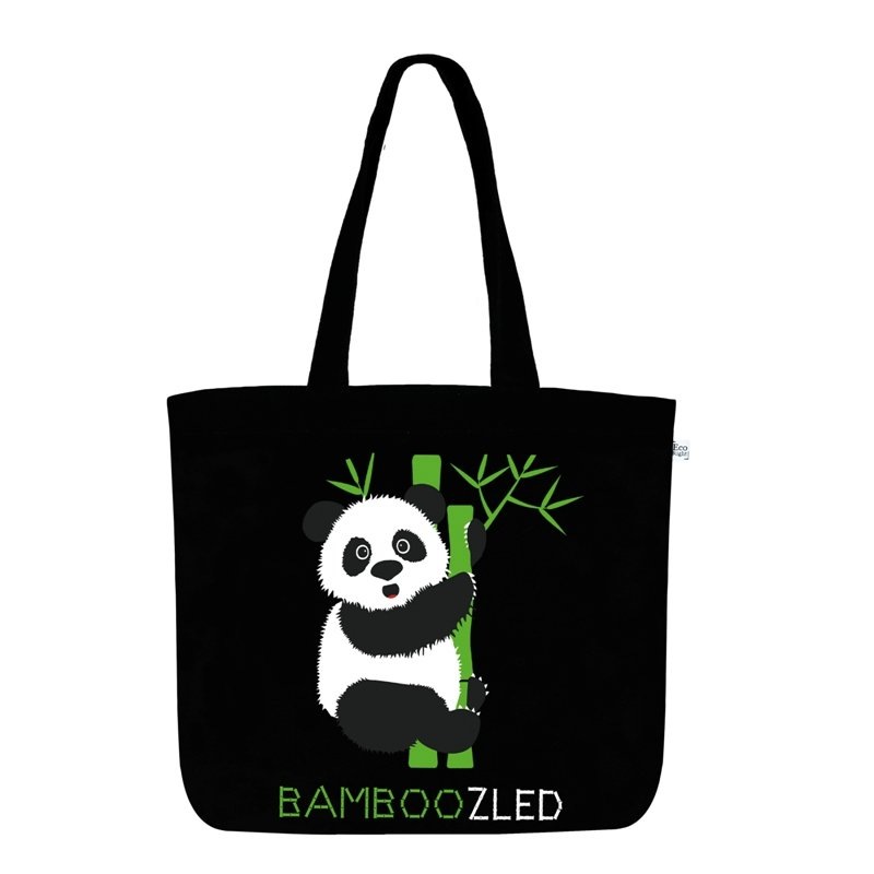 Panda Tote Bag: Bamboozled Panda Large Zipper Tote Bag