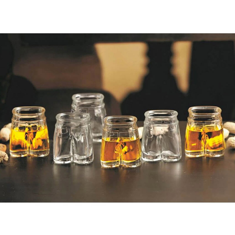 Front view of Set of 6 Pants Up Shot Glasses