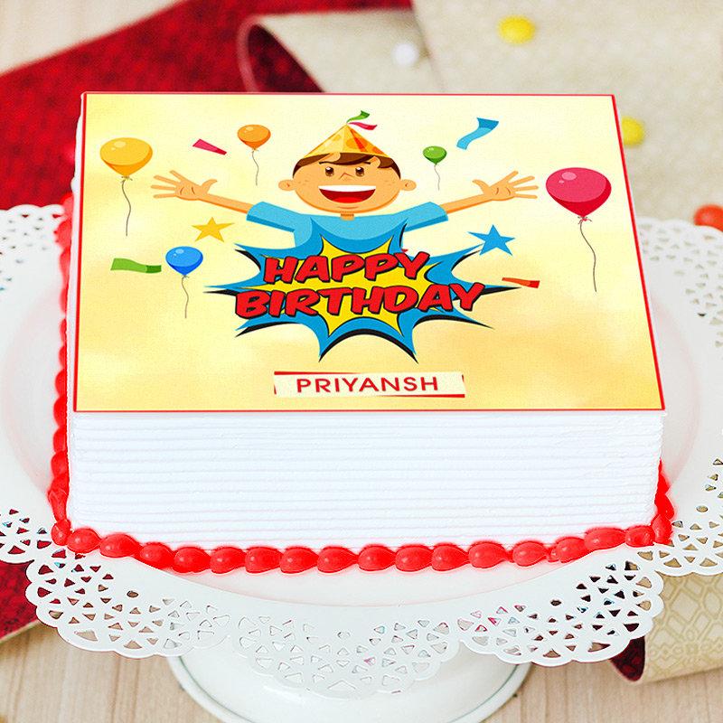 Square Cartoon Cake for Kids