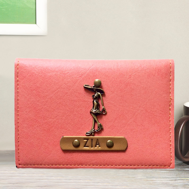 Fascinating Peach Personalized Folding Card Holder