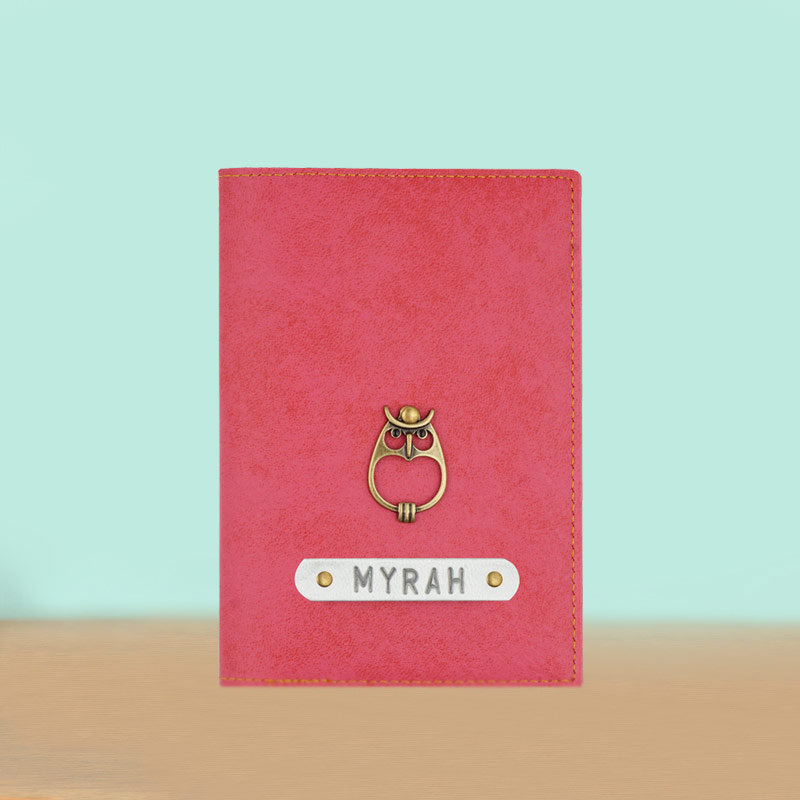 Customized Passport Holder in Peach Color