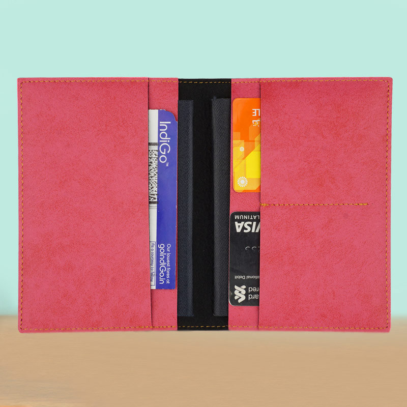 Opened View of Customized Passport Holder in Peach Color