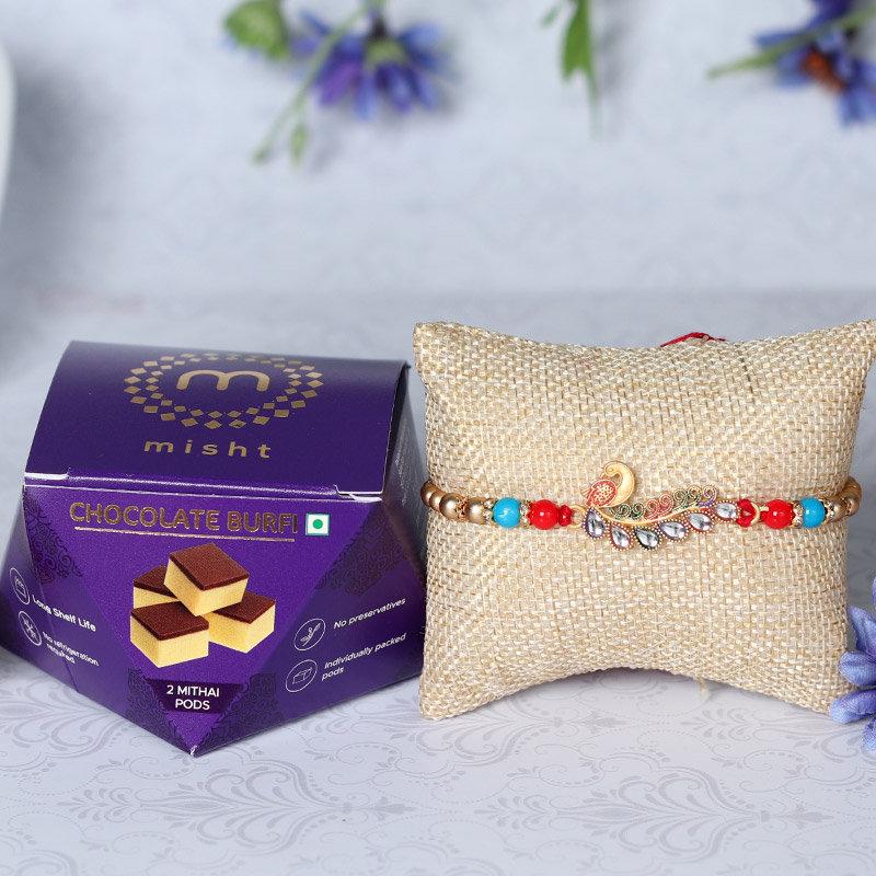Peacock Rakhi And Chocolate Burfi