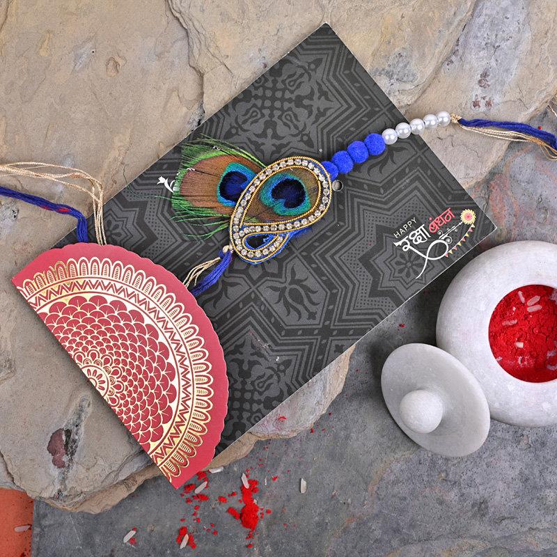 Send One Peacock Designer Rakhi Online