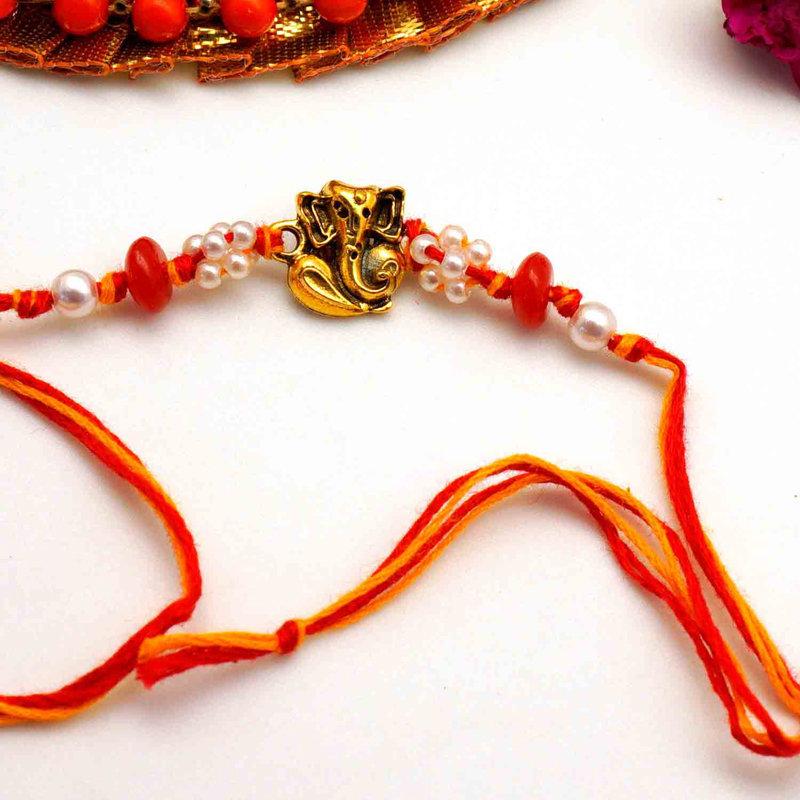 Pearl Ganesha Rakhi - rakhi to usa online