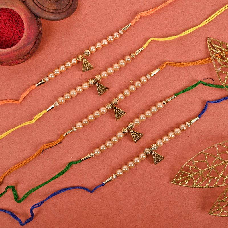 Pearl Ghungroo Rakhi Set - Set of 4 Designer Rakhi