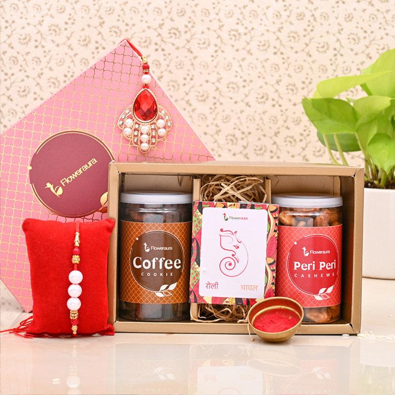 Pearl Rakhi Signature Box - One Bhaiya Bhabhi Rakhi