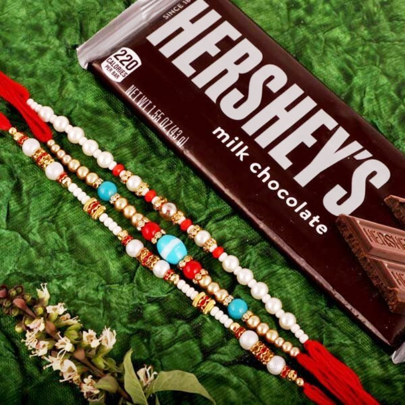 Pearl Rakhi Trio With Chocolate Send to USA