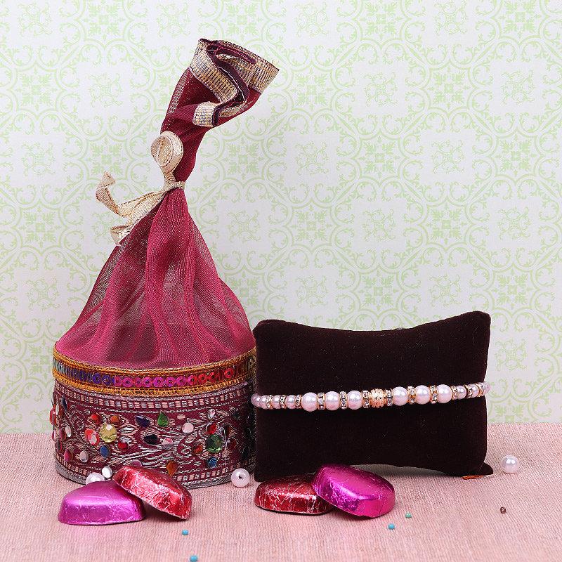 Pearl Rakhi With Chocolates - A Combo of Chocolates and Rakhi