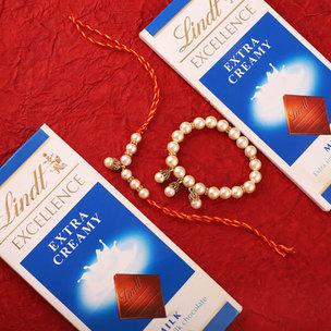 Pearly Rakhi Set With Lindt Chocolates