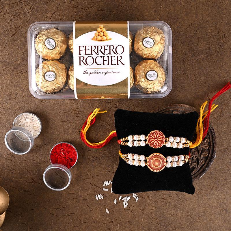 Pearly rocher Rakhi pack - Set of 2 Designer Rakhi