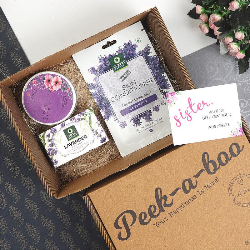 Peek A Boo Lavender Box For Sister
