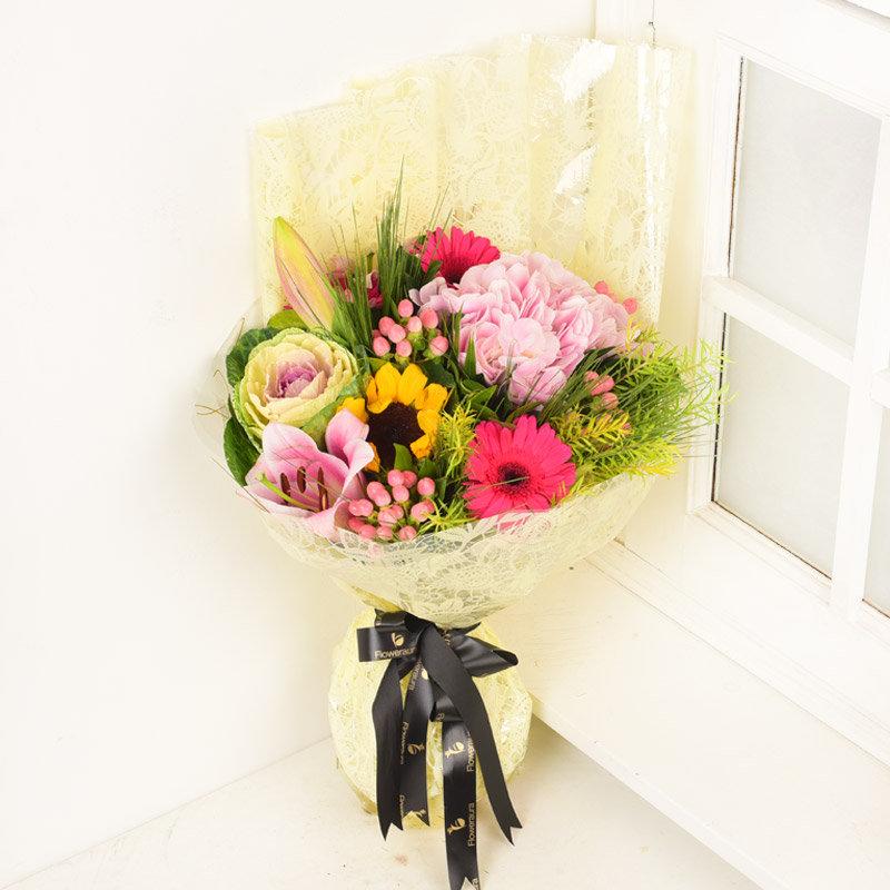 Pink Lilies With Pink Gerberas