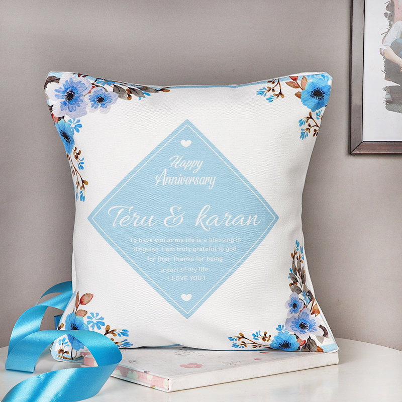 Personalised Anniversary Cushion - 12x12 Personalised Inches Printed Cushion