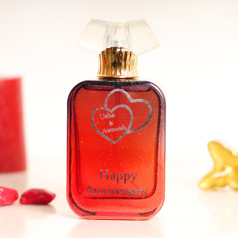 Customize Perfume Gift for Annviersary with 2 Hearts Engraved on Bottle