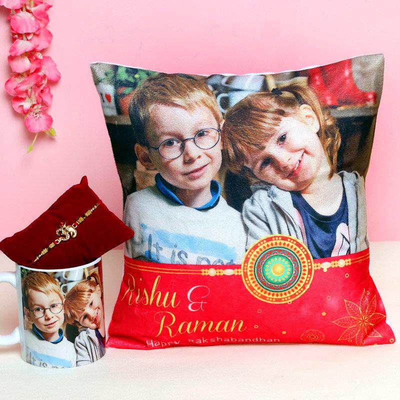 Rakhi with Personalised Mug and Cushion for Brother